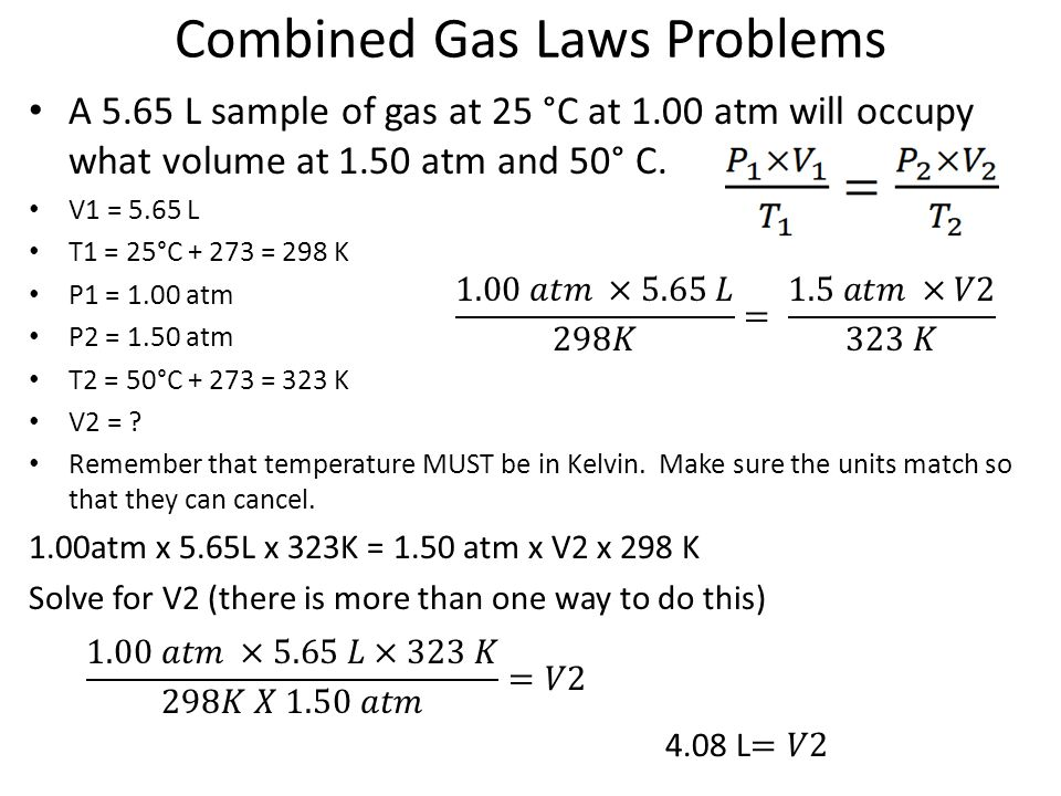combined gas law worksheet - Termolak