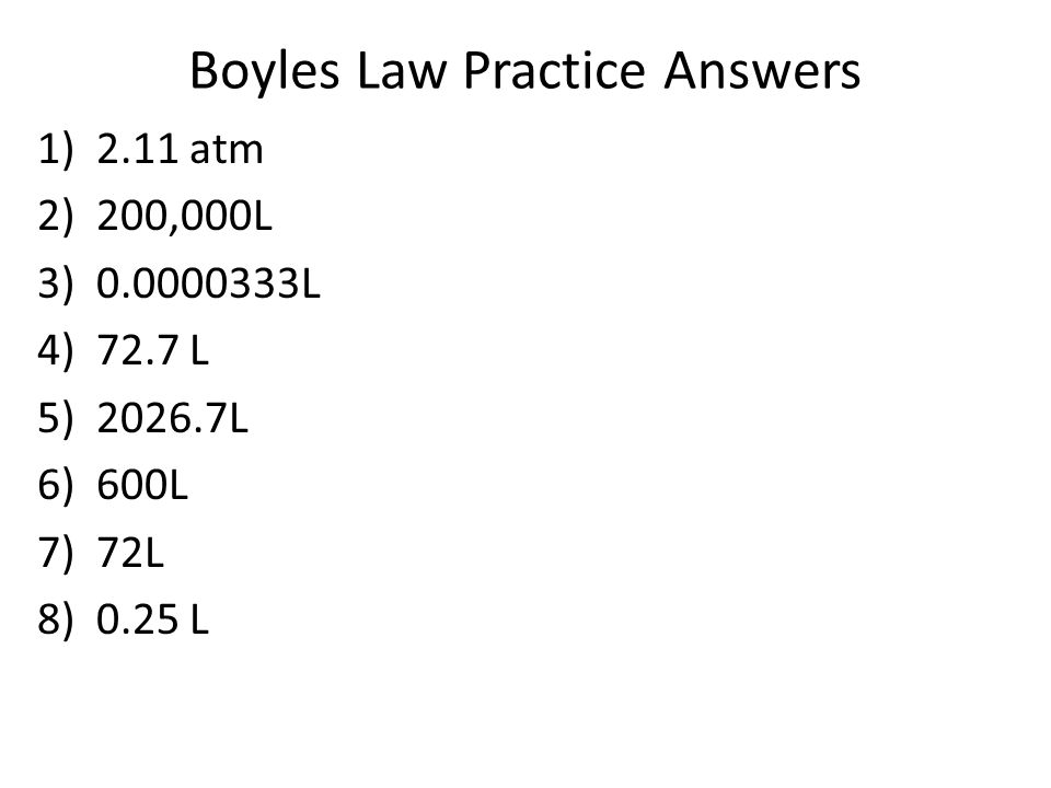 Boyles Law Practice Answers
