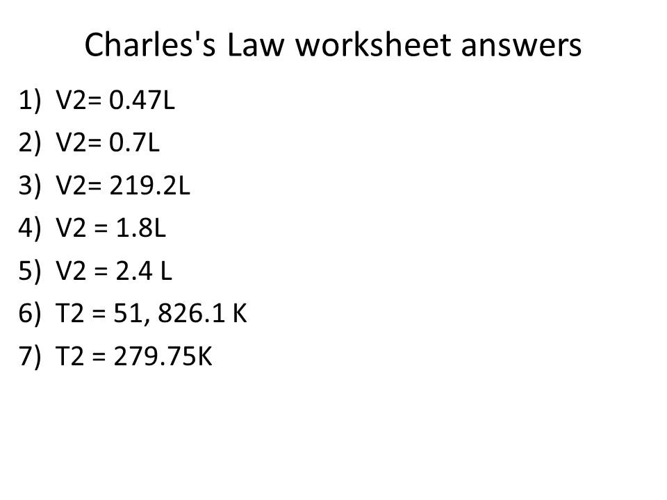 Charles s Law worksheet answers