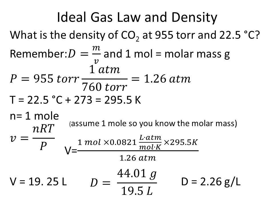 Ideal Gas Law and Density