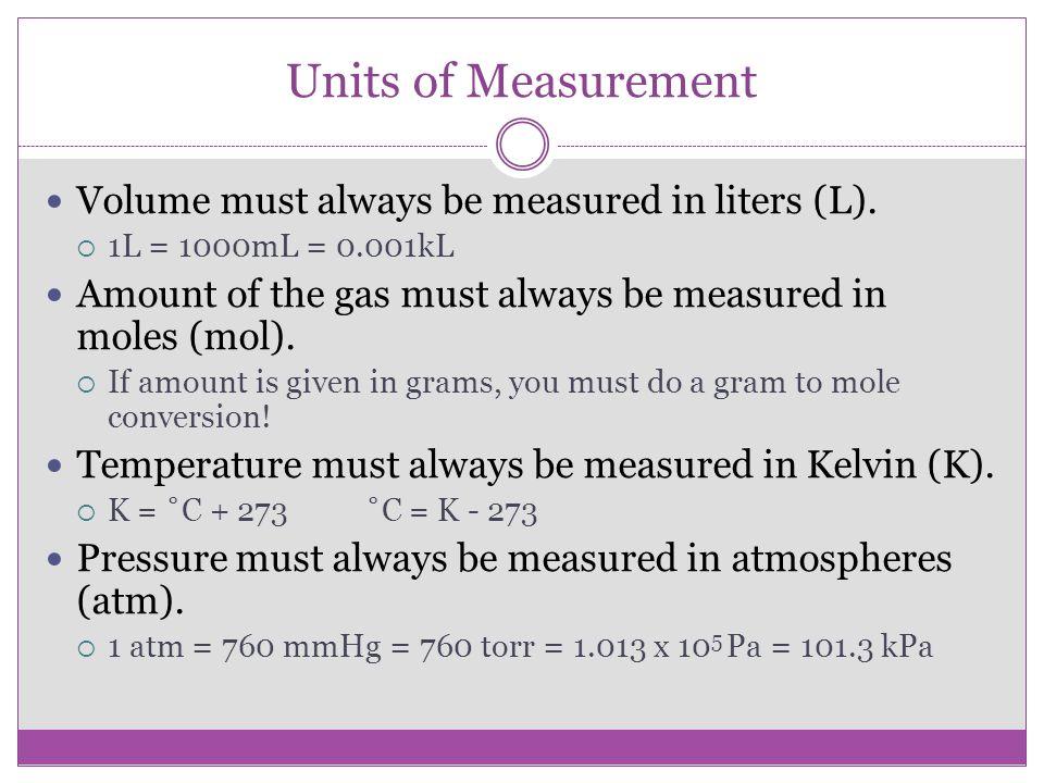 Units of Measurement Volume must always be measured in liters (L).