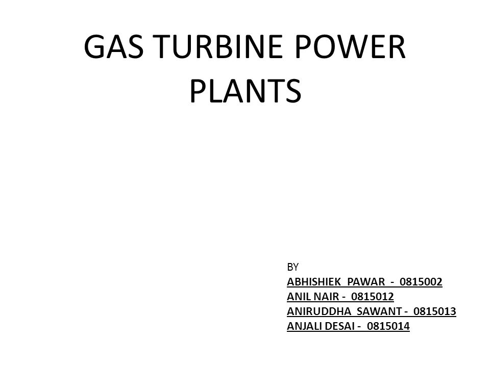 GAS TURBINE POWER PLANTS