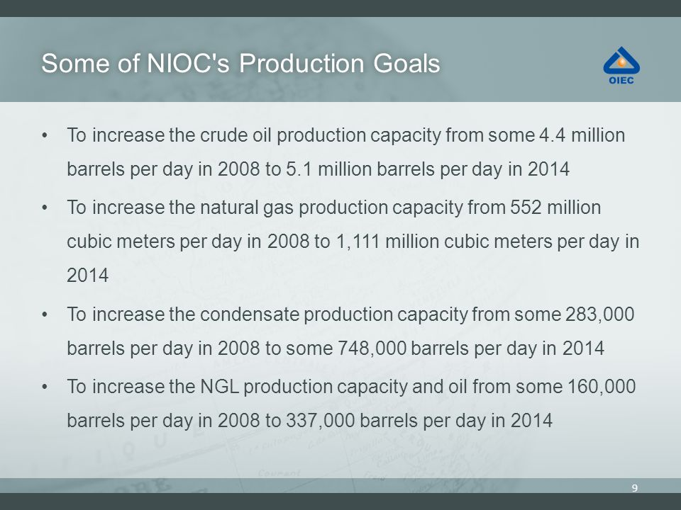 Some of NIOC s Production Goals