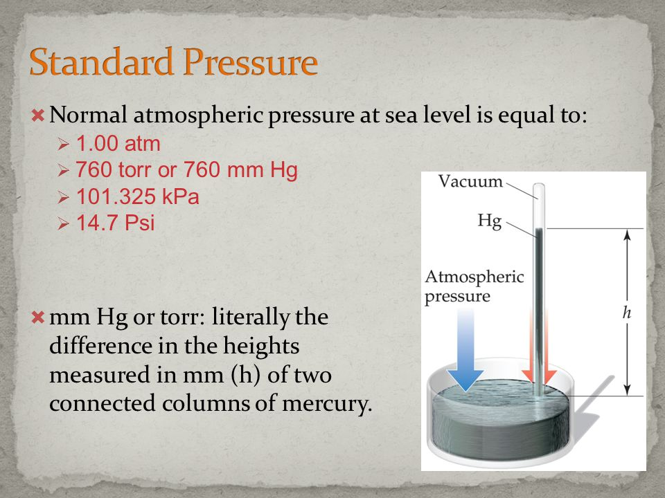 Standard Pressure Normal atmospheric pressure at sea level is equal to: 1.00 atm. 760 torr or 760 mm Hg.