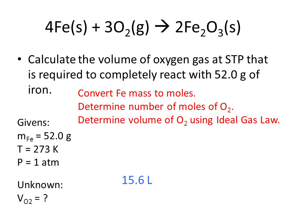 4Fe(s) + 3O2(g)  2Fe2O3(s) Calculate the volume of oxygen gas at STP that is required to completely react with 52.0 g of iron.