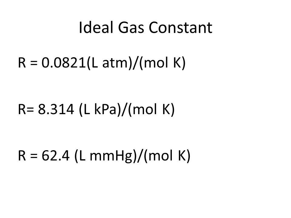 Ideal Gas Constant R = 0.0821(L atm)/(mol K) R= 8.314 (L kPa)/(mol K) R = 62.4 (L mmHg)/(mol K)