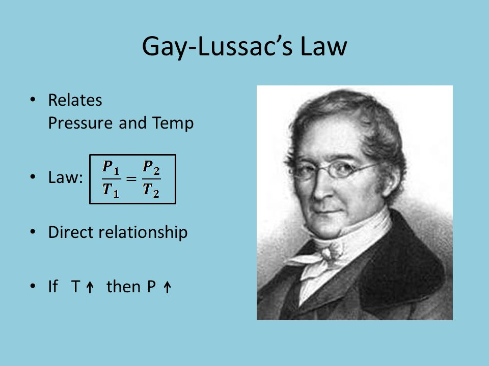 Gay-Lussac's Law Relates Pressure and Temp Law: Direct relationship