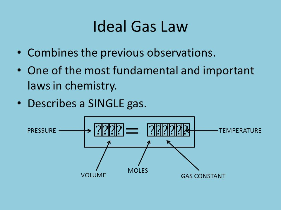 Ideal Gas Law Combines the previous observations.