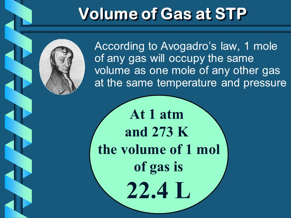 22.4 L Volume of Gas at STP At 1 atm and 273 K the volume of 1 mol