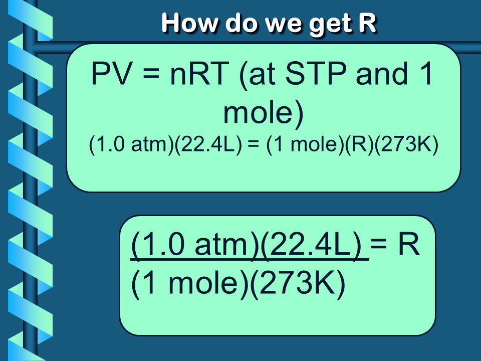 PV = nRT (at STP and 1 mole)