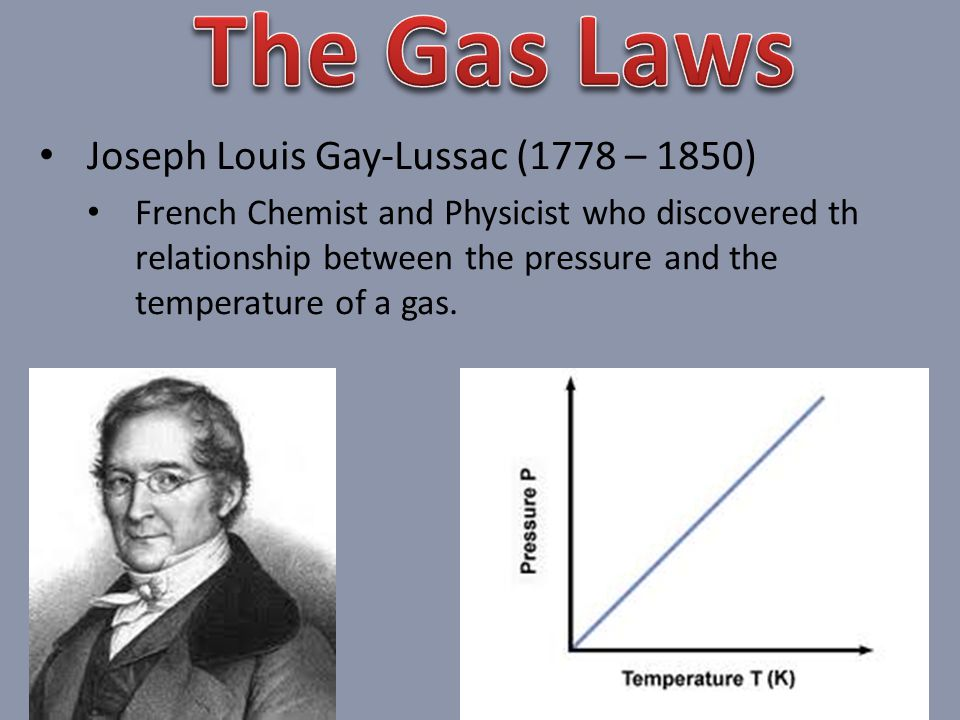 The Gas Laws Joseph Louis Gay-Lussac (1778 – 1850)