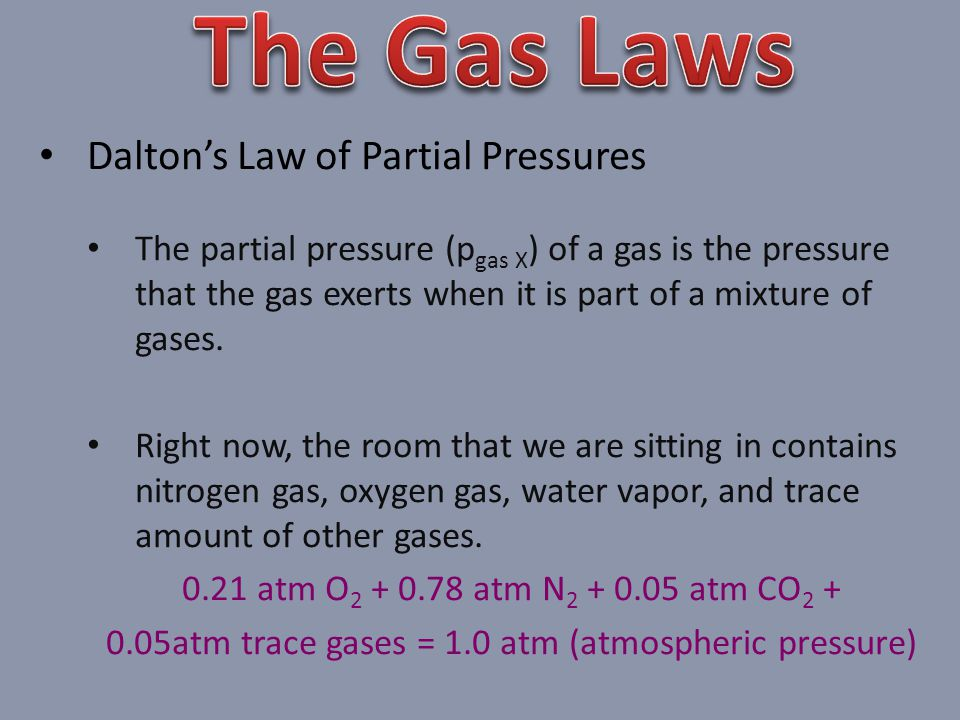 0.05atm trace gases = 1.0 atm (atmospheric pressure)