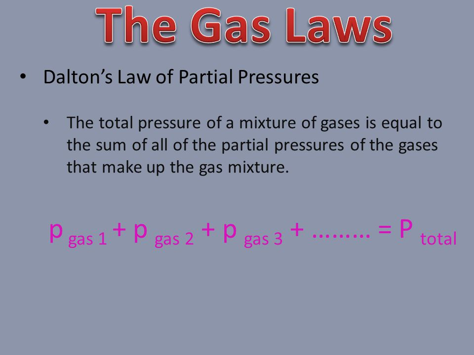 p gas 1 + p gas 2 + p gas 3 + ……… = P total