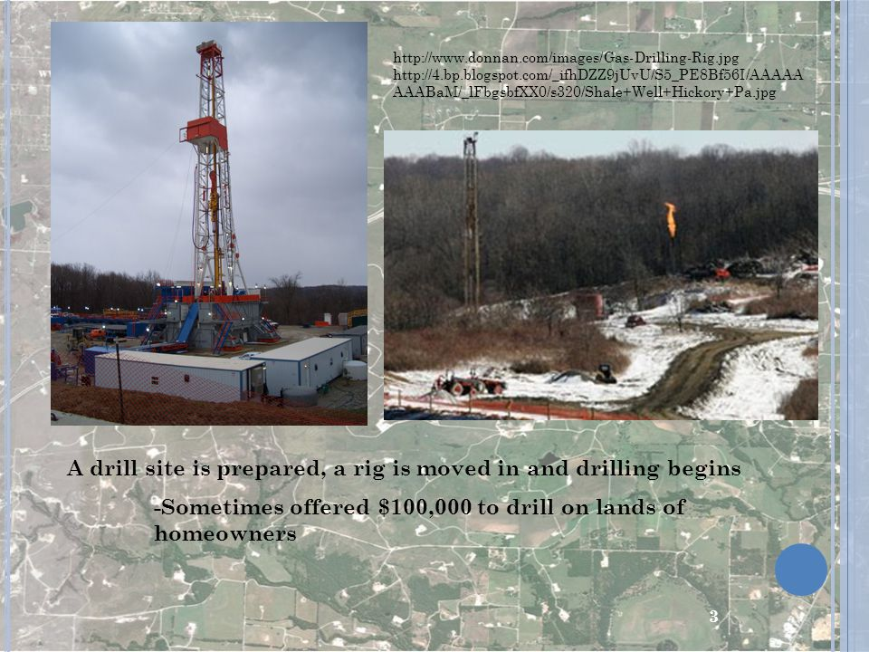 A drill site is prepared, a rig is moved in and drilling begins