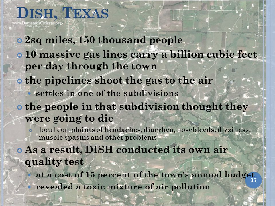 Dish, Texas 2sq miles, 150 thousand people