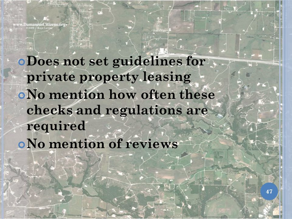 Does not set guidelines for private property leasing