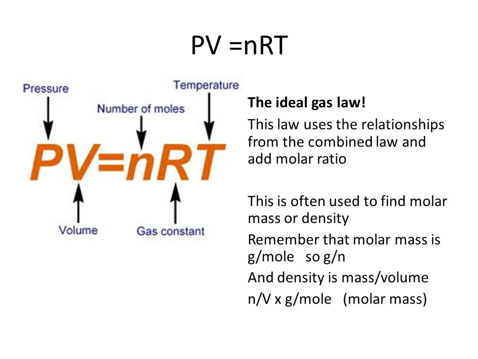 PV =nRT The ideal gas law!