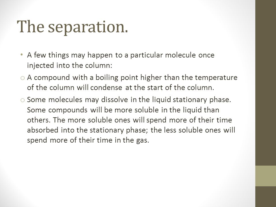 The separation. A few things may happen to a particular molecule once injected into the column: