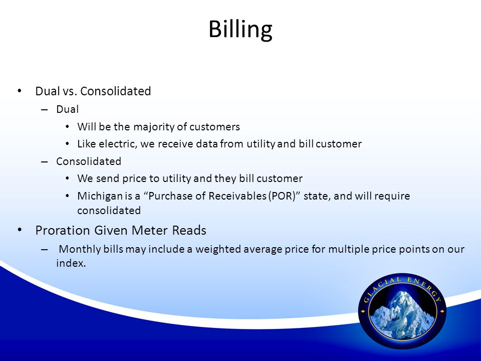 Billing Proration Given Meter Reads Dual vs. Consolidated Dual