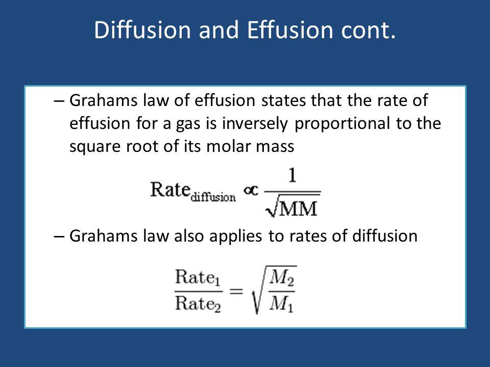 Diffusion and Effusion cont.
