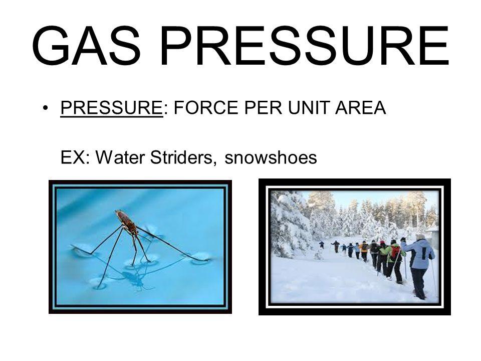 GAS PRESSURE PRESSURE: FORCE PER UNIT AREA