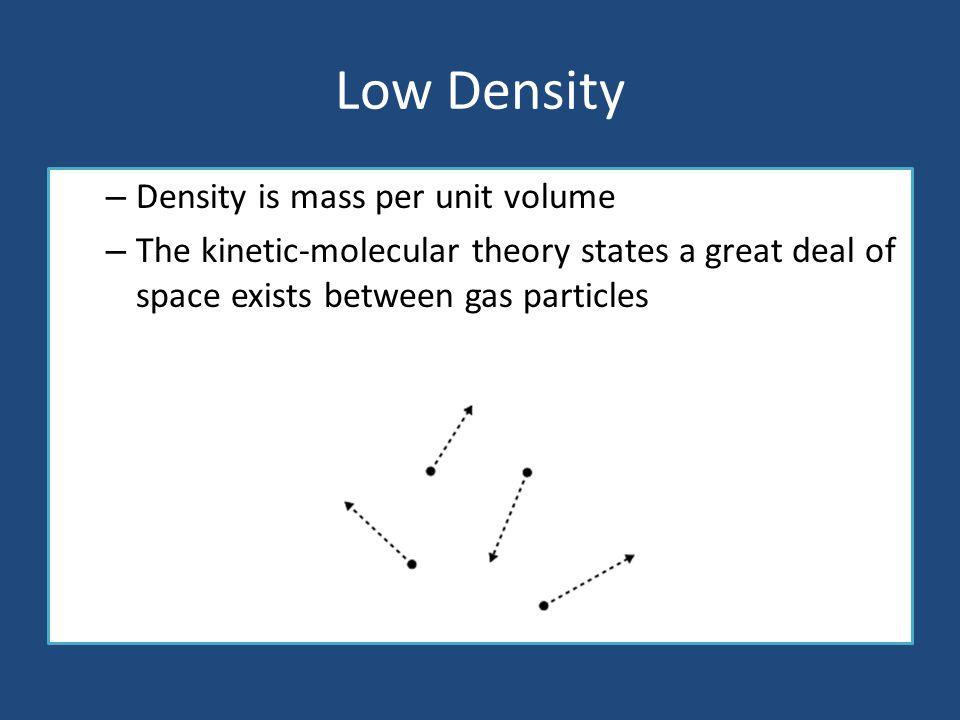 Low Density Density is mass per unit volume