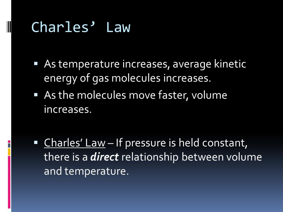 Charles' Law As temperature increases, average kinetic energy of gas molecules increases. As the molecules move faster, volume increases.