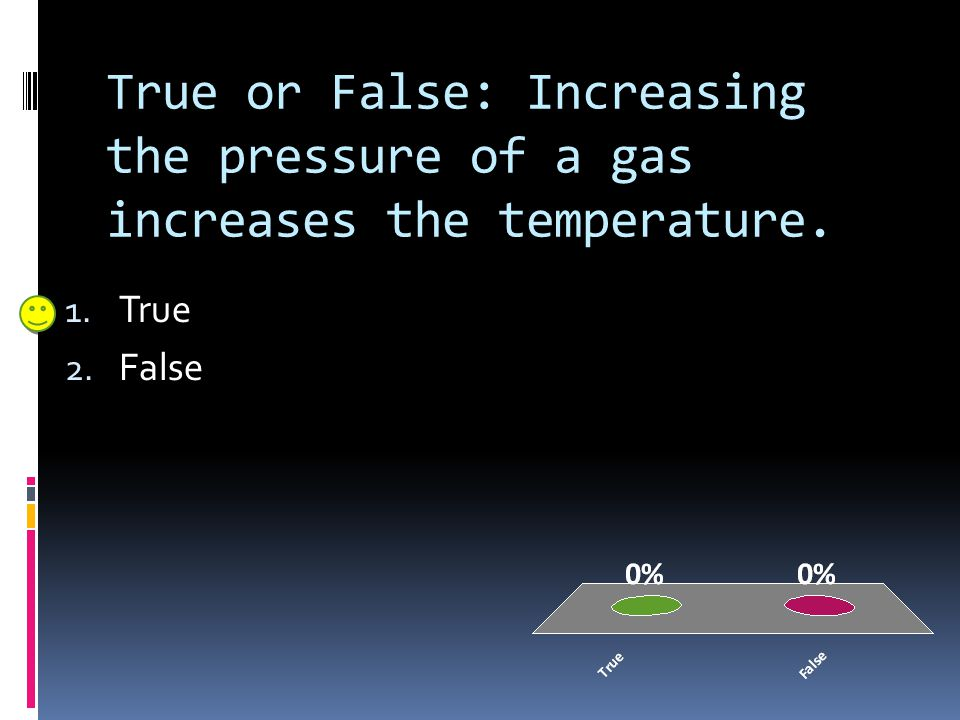 True or False: Increasing the pressure of a gas increases the temperature.