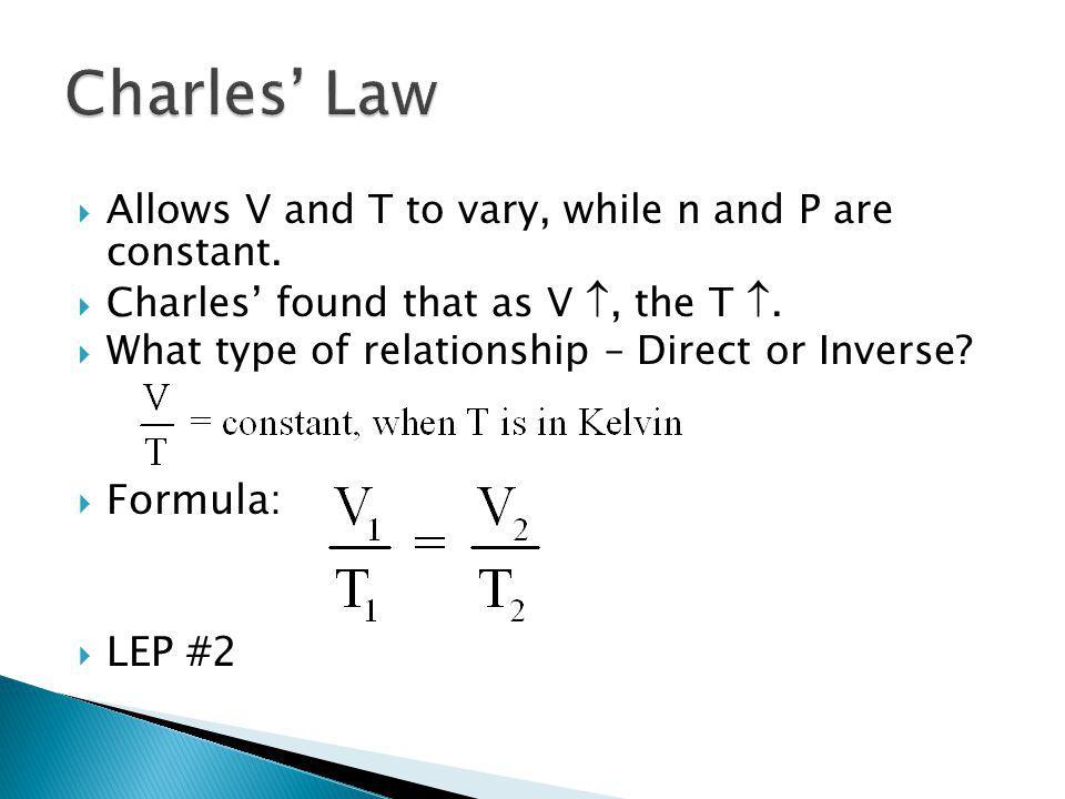 Charles' Law Formula: LEP #2