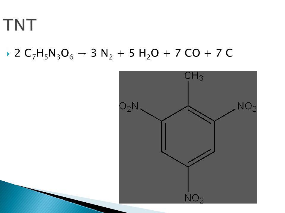 TNT 2 C7H5N3O6 → 3 N2 + 5 H2O + 7 CO + 7 C