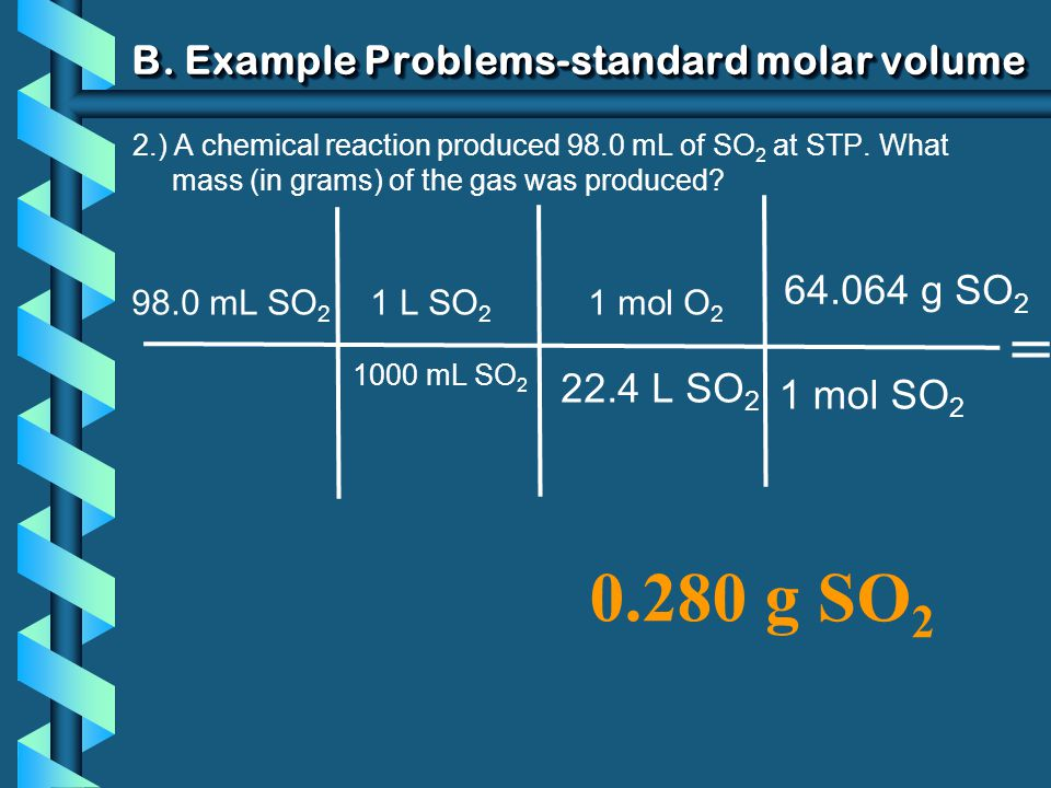 B. Example Problems-standard molar volume