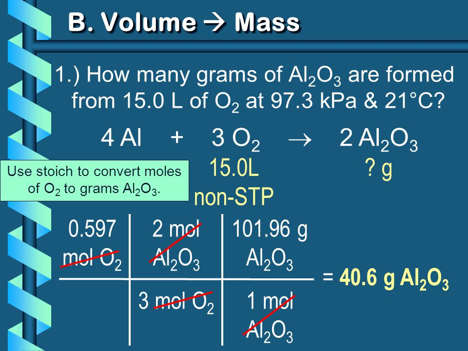 Use stoich to convert moles of O2 to grams Al2O3.