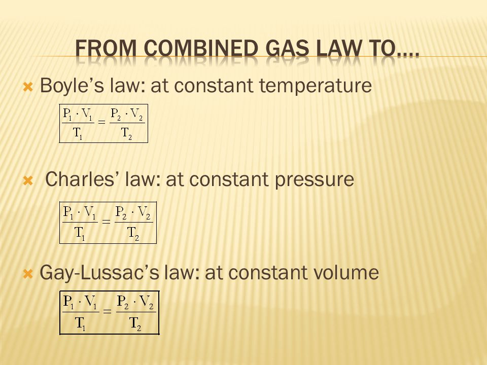 From Combined gas law to….