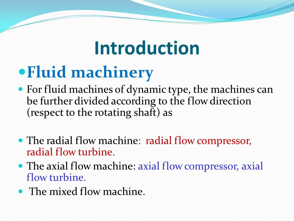 Introduction Fluid machinery