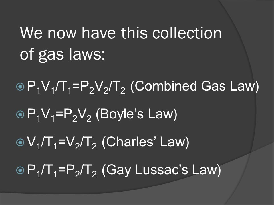 We now have this collection of gas laws: