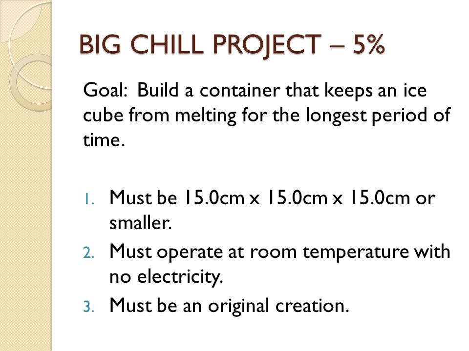 BIG CHILL PROJECT – 5% Goal: Build a container that keeps an ice cube from melting for the longest period of time.
