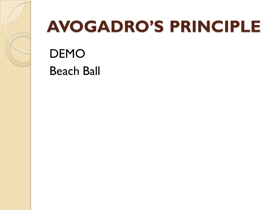 AVOGADRO'S PRINCIPLE DEMO Beach Ball