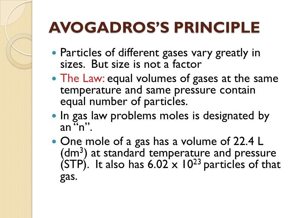 AVOGADROS'S PRINCIPLE
