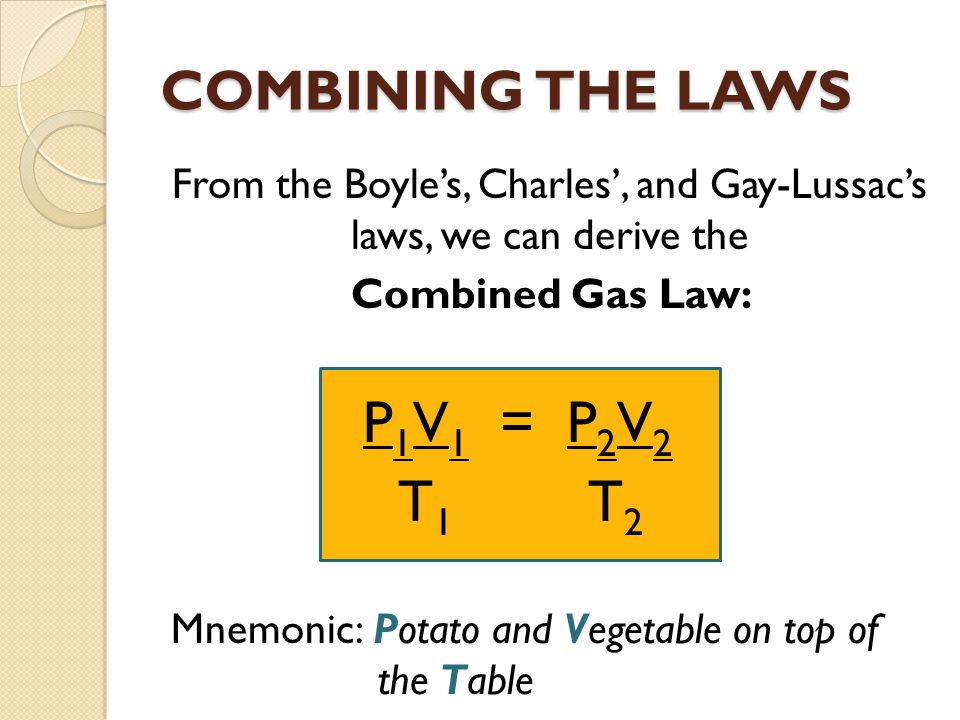 From the Boyle's, Charles', and Gay-Lussac's laws, we can derive the