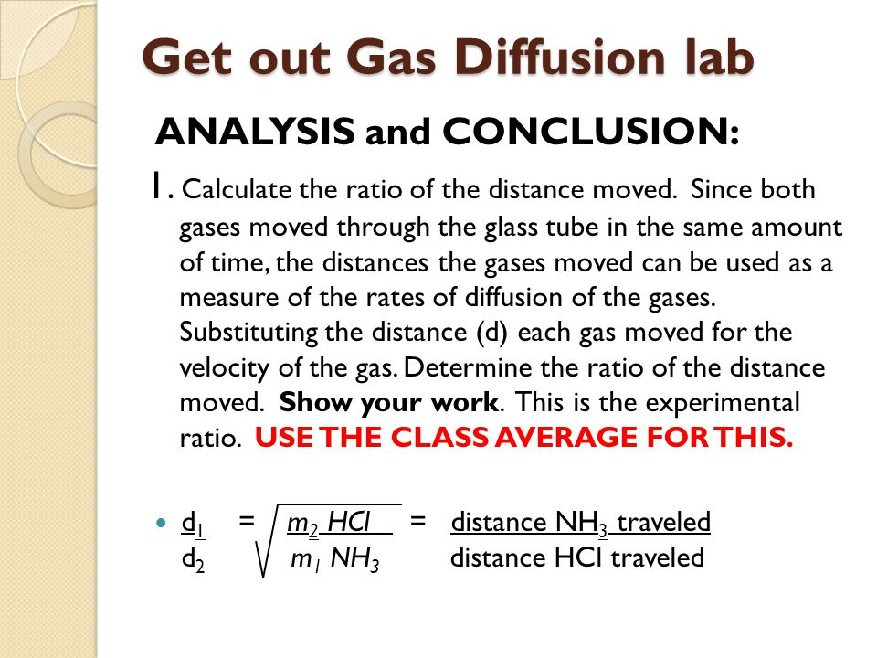 Get out Gas Diffusion lab
