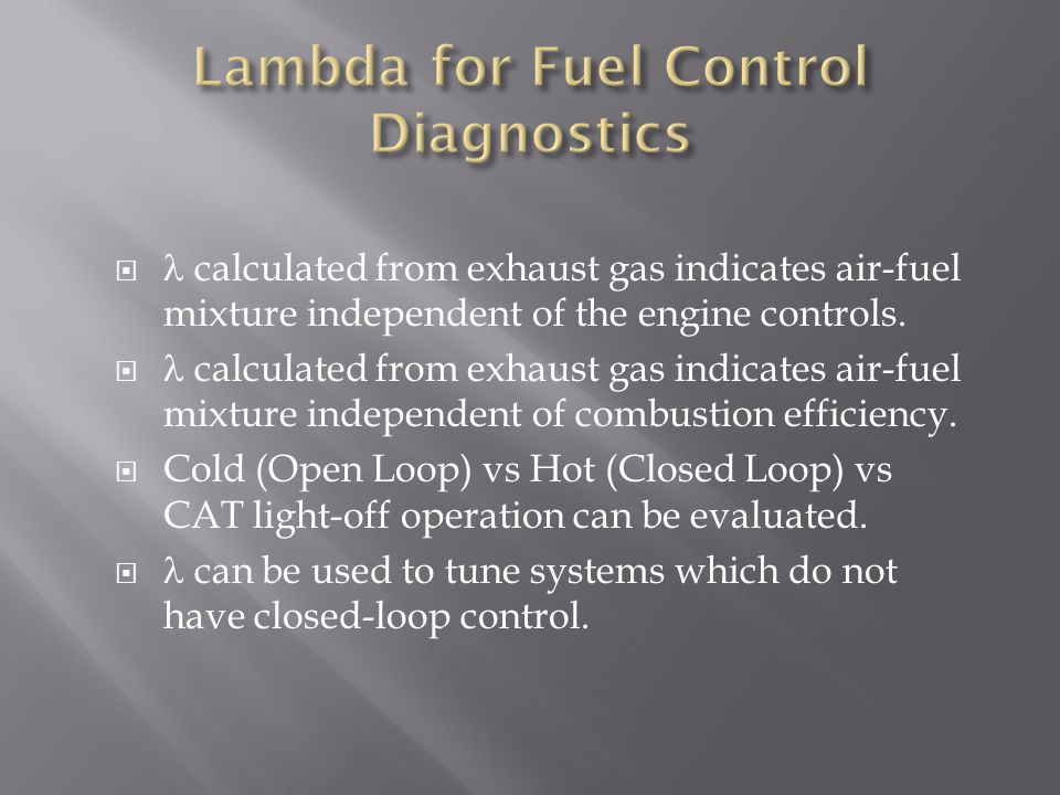 Lambda for Fuel Control Diagnostics