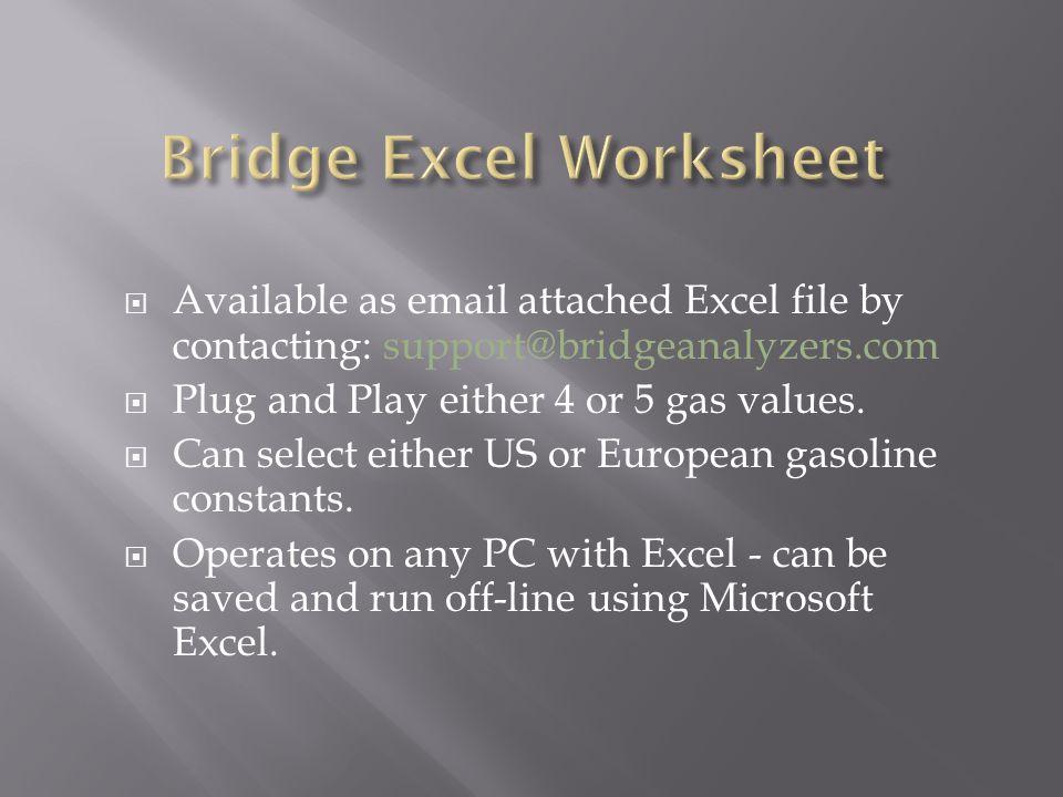 Bridge Excel Worksheet