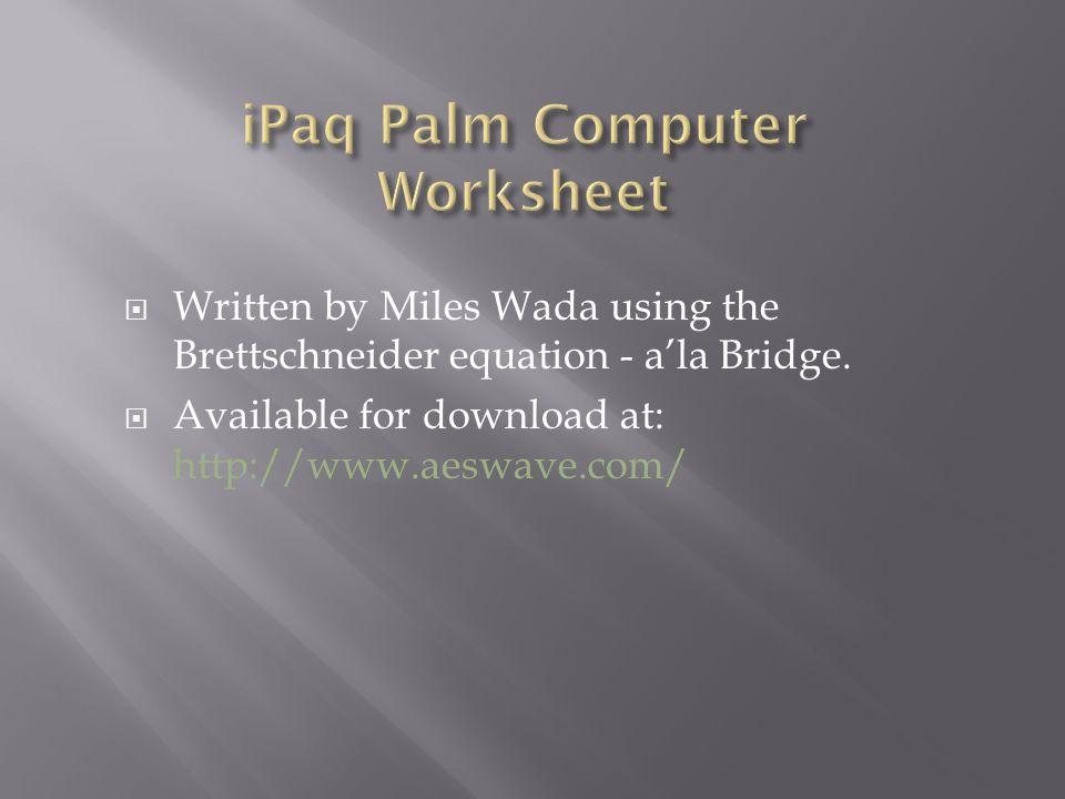 iPaq Palm Computer Worksheet