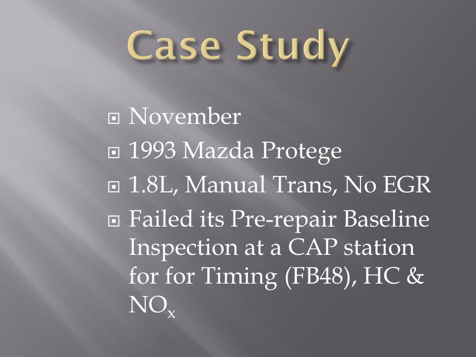 Case Study November 1993 Mazda Protege 1.8L, Manual Trans, No EGR