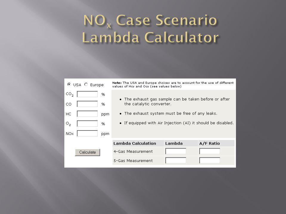 NOx Case Scenario Lambda Calculator