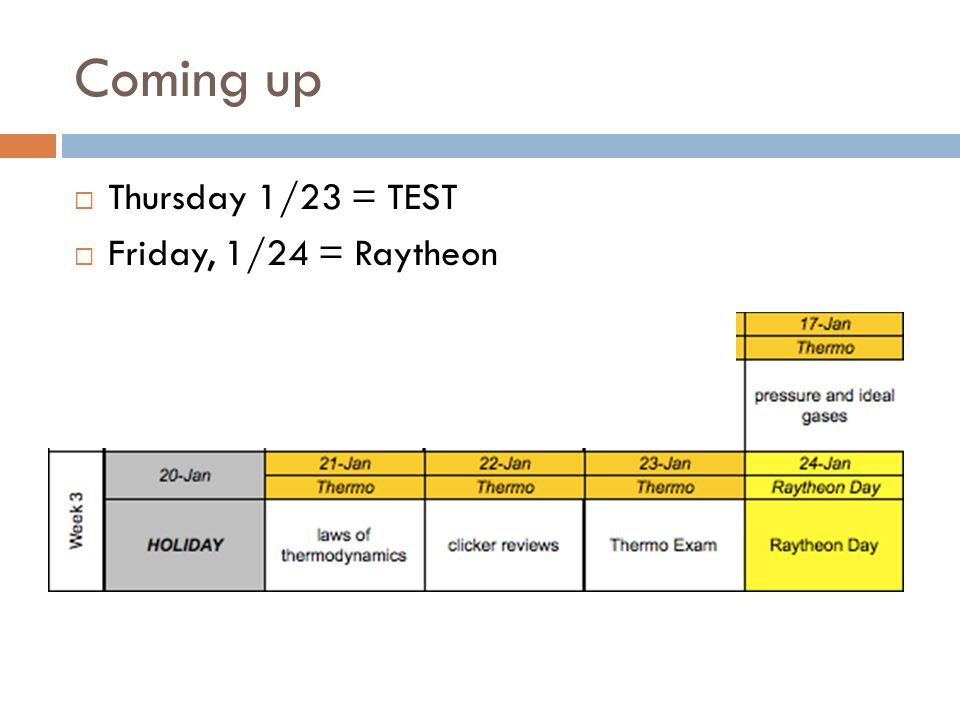 Coming up Thursday 1/23 = TEST Friday, 1/24 = Raytheon