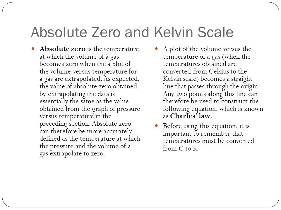 Absolute Zero and Kelvin Scale