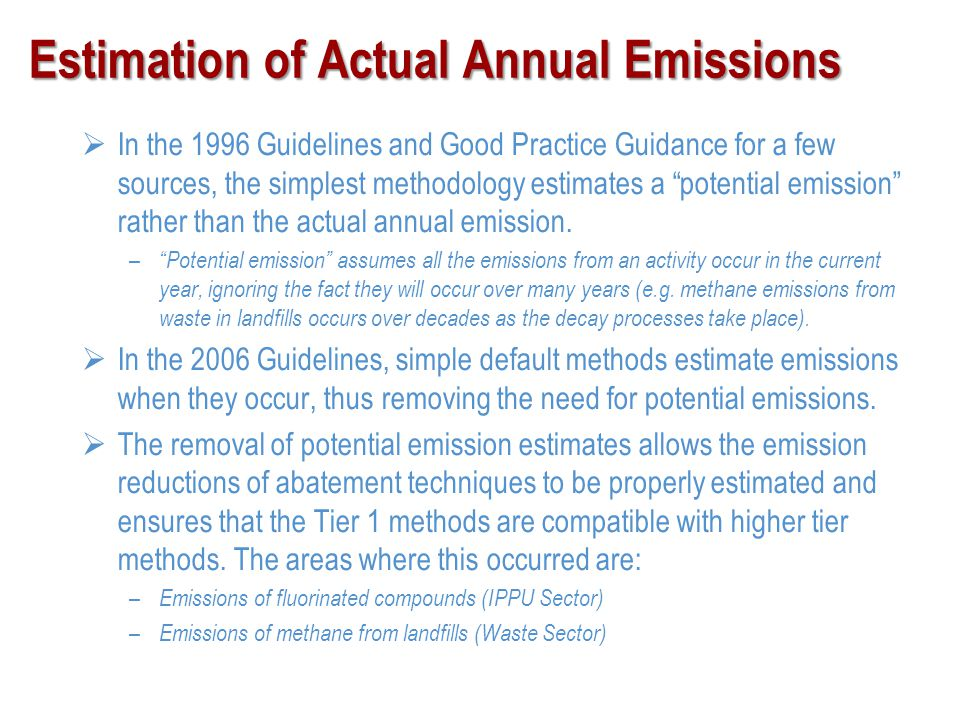 Estimation of Actual Annual Emissions