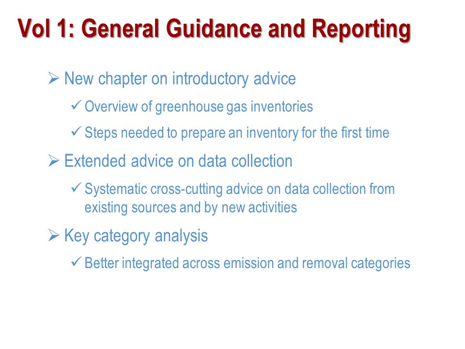 Vol 1: General Guidance and Reporting