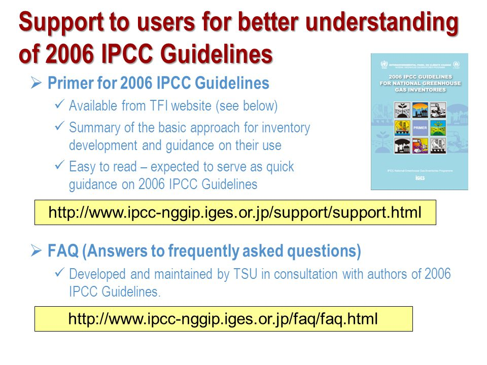 Support to users for better understanding of 2006 IPCC Guidelines